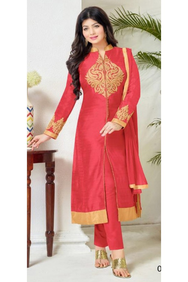 Party Wear Red Cotton Salwar Suit - FA386-009