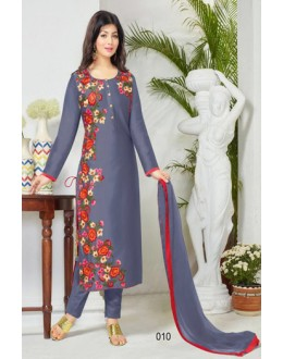 Party Wear Sky Blue Cotton Salwar Suit - FA386-010