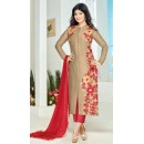 Party Wear Grey & Red Cotton Salwar Suit - FA386-018