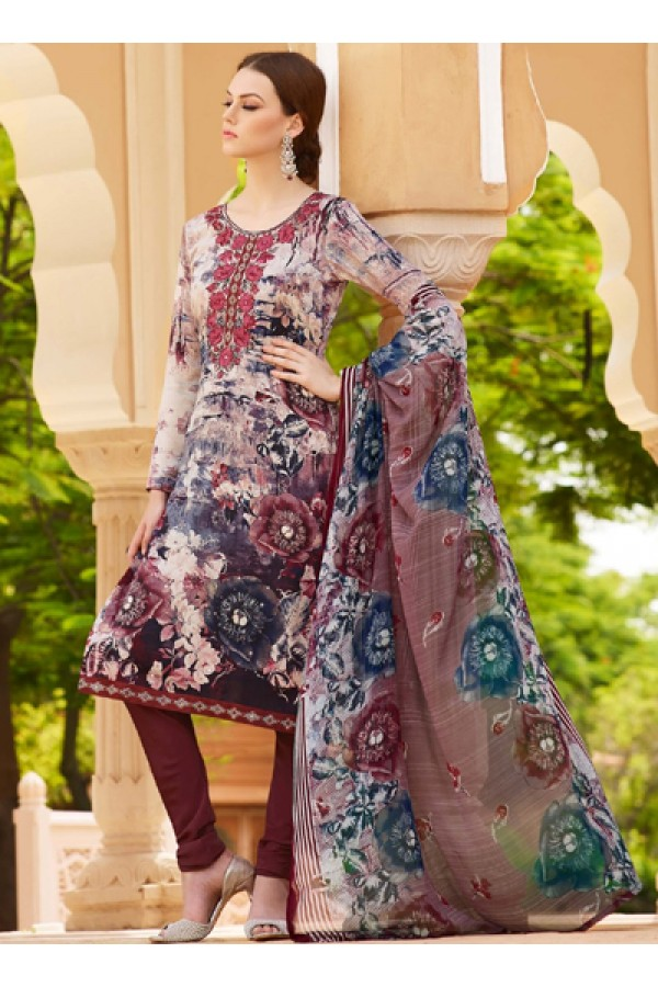 Ethnic Wear Brown Crepe Salwar Suit  - FA395-7002