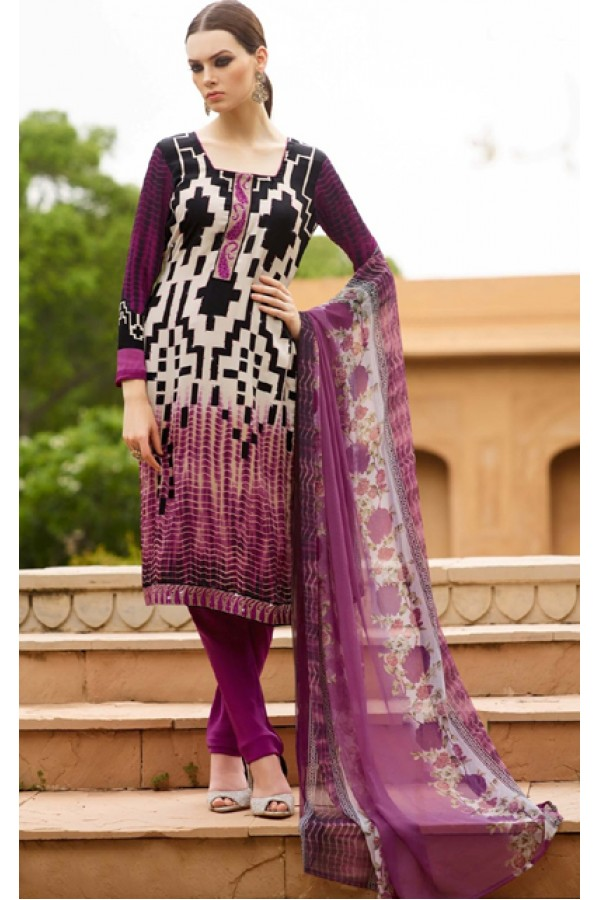 Office Wear Black & Purple Crepe Salwar Suit  - FA395-7004