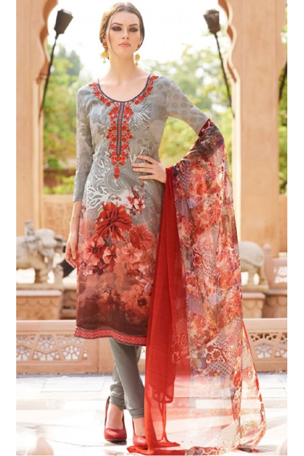 Festival Wear Grey & Orange Crepe Salwar Suit  - FA395-7005