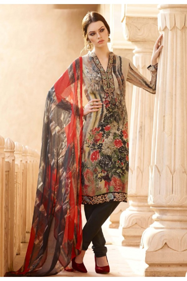 Festival Wear Multicolour Crepe Salwar Suit  - FA395-7012