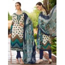 Office Wear White & Blue Crepe Salwar Suit  - FA395-7014