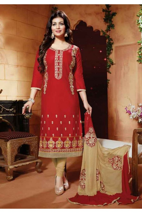 Ayesha Takia In Red & Cream Cotton Salwar Suit  - FA396-04
