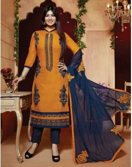Ayesha Takia In Yellow & Blue Cotton Salwar Suit  - FA396-09