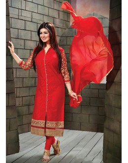 Ayesha Takia In Red Cotton Churidar Suit  - FA396-10