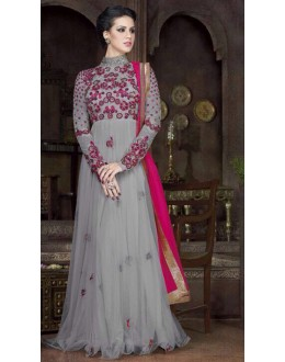 Party Wear Grey & Pink Net Embroidery Gown  - FA412-012