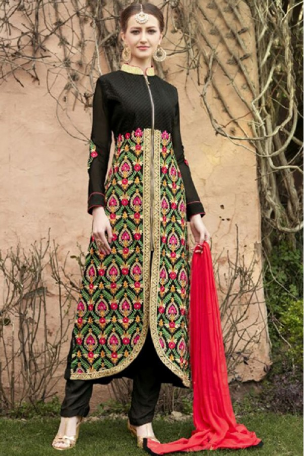 Party Wear Black & Red Georgette Salwar Suit  - FA399-1001