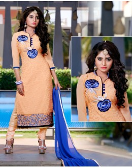 Ethnic Wear Peach & Blue Churidar Suit  - FA409-25002