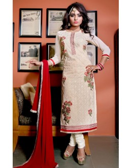 Office Wear Off White & Red Salwar Suit  - FA409-25003