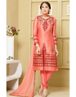 Party Wear Peach Embroidered Silt Salwar Suit  - FA400-2324