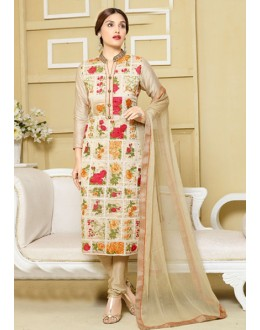 Party Wear Cream Embroidered Churidar Suit  - FA400-2326