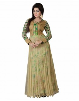 Party Wear Green Bhagalpuri Silk Anarkali Gown  - FA417-2006