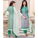 Ayesha Takiya In Grey & Green Cotton Salwar Suit  - FA414-38