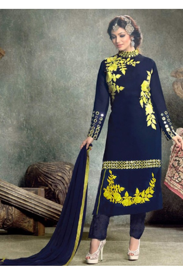 Ayesha Takiya In Blue Georgette Salwar Suit - FA418-1