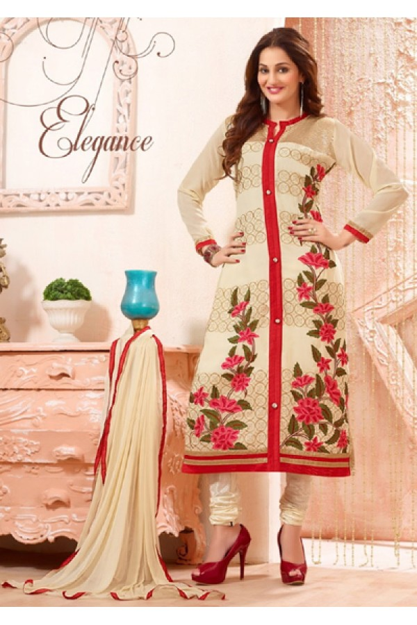 Festival Wear Cream Cotton Salwar Suit - FA418-2