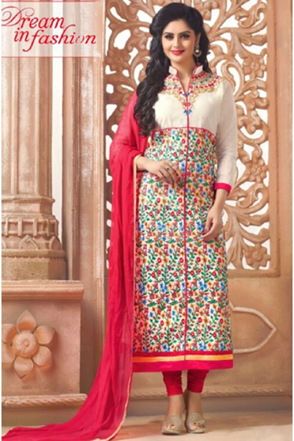 Office Wear Off White Cotton Salwar Suit - FA418-4