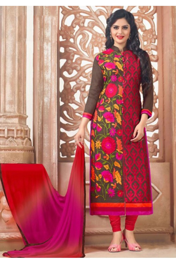Festival Wear Pink & Black Cotton Salwar Suit - FA418-5