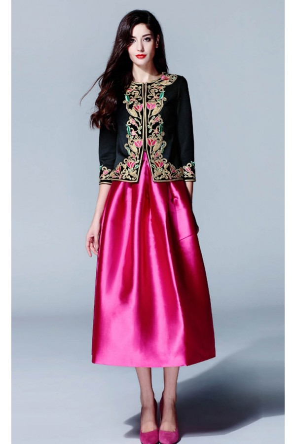 Party Wear Black & Pink Silk Cotton Top & Skirt   - FA418-7