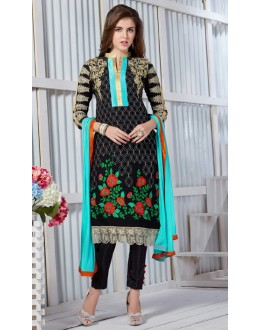 Ethnic Wear Black Georgette Salwar Suit  - 19296