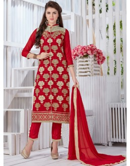 Festival Wear Red Georgette Salwar Suit  - 19297