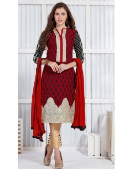 Ethnic Wear Red & Cream Georgette Salwar Suit  - 19301