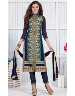 Festival Wear Navy Blue Georgette Salwar Suit  - 19302