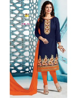 Casual Wear Blue & Orange Salwar Suit - FD167-05