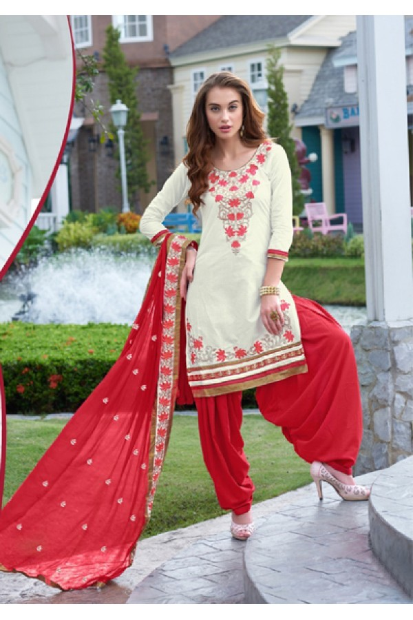 Party Wear Off White Cotton Patiyala Suit - FD168-1502