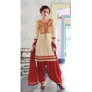Party Wear Off White & Maroon Patiyala Suit - FD168-1503