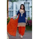 Party Wear Blue & Orange Patiyala Suit - FD168-1505