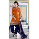 Party Wear Orange & Blue Patiyala Suit - FD168-1507