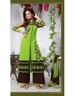 Party Wear Green & Brown Palazzo Suit - FD169-10