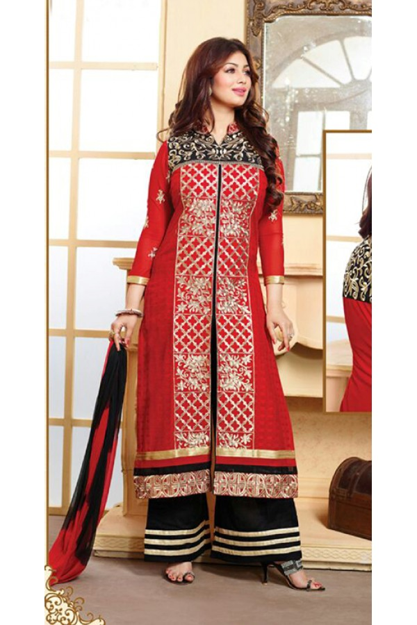 Casual Wear Red & Black Palazzo Suit - FD169-23