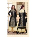 Party Wear Black & Cream Palazzo Suit - FD169-24