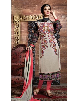 Party Wear Cream & Pink Salwar Suit - FD169-37