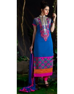 Beautiful New Blue Embroidered Straight Cut Unstitched Salwar Suit-FA266-10010(FFH-FA266)