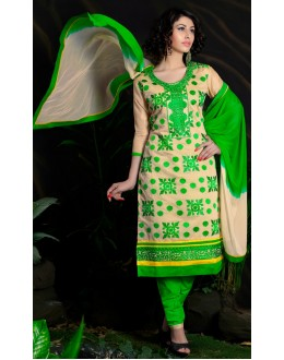 Beautiful New Cream & Green Embroidered Straight Cut Unstitched Salwar Suit-FA266-10009(FFH-FA266)