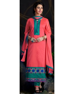 Beautiful New Designer Pink Embroidered Straight Cut Unstitched Salwar Suit-FA266-10006(FFH-FA266)