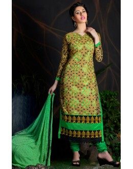 Beautiful New Green Embroidered Straight Cut Unstitched Salwar Suit-FA266-10007(FFH-FA266)