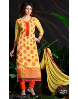 Beautiful New Mustard Embroidered Straight Cut Unstitched Salwar Suit-FA266-10011(FFH-FA266)