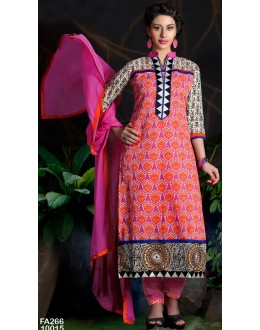 Beautiful New Pink Embroidered Straight Cut Unstitched Salwar Suit-FA266-10015(FFH-FA266)