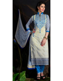 Beautiful New White & Blue Designer Straight Cut Unstitched Salwar Suit-FA266-10003(FFH-FA266)