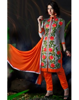 Latest New Designer Grey & Orange Embroidered Straight Cut Unstitched Salwar Suit-FA266-10002(FFH-FA266)