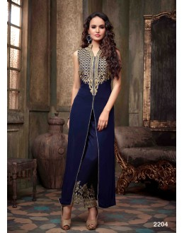 Designer Fancy Navy Blue Embroidered Georgette Straight Cut Salwar Suit-  FA001-2204 ( FFH-FA001 )