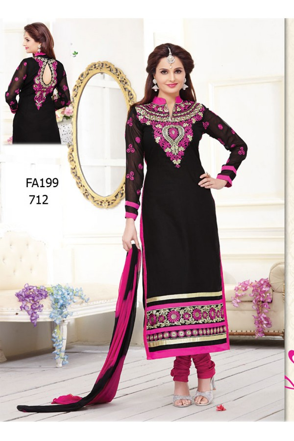 Designer Black & Pink Cotton Embroidered Long Party Wear Salwar Suit- FA199-712 ( FFH-FA199 )