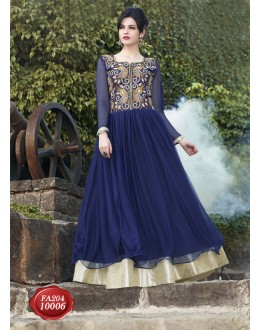 Designer Beautiful Fancy Blue Net Embroidered Party Wear Gown - FA204-10006 ( FFH-FA204 )