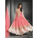 Designer Peach Embroidered Faux Georgette Party Wear Long Anarkali Suit -FA234-9004( FFH-FA234 )