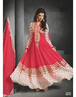 Designer Pink Embroidered Faux Georgette Party Wear Long Anarkali Suit -FA234-9004-D( FFH-FA234 )